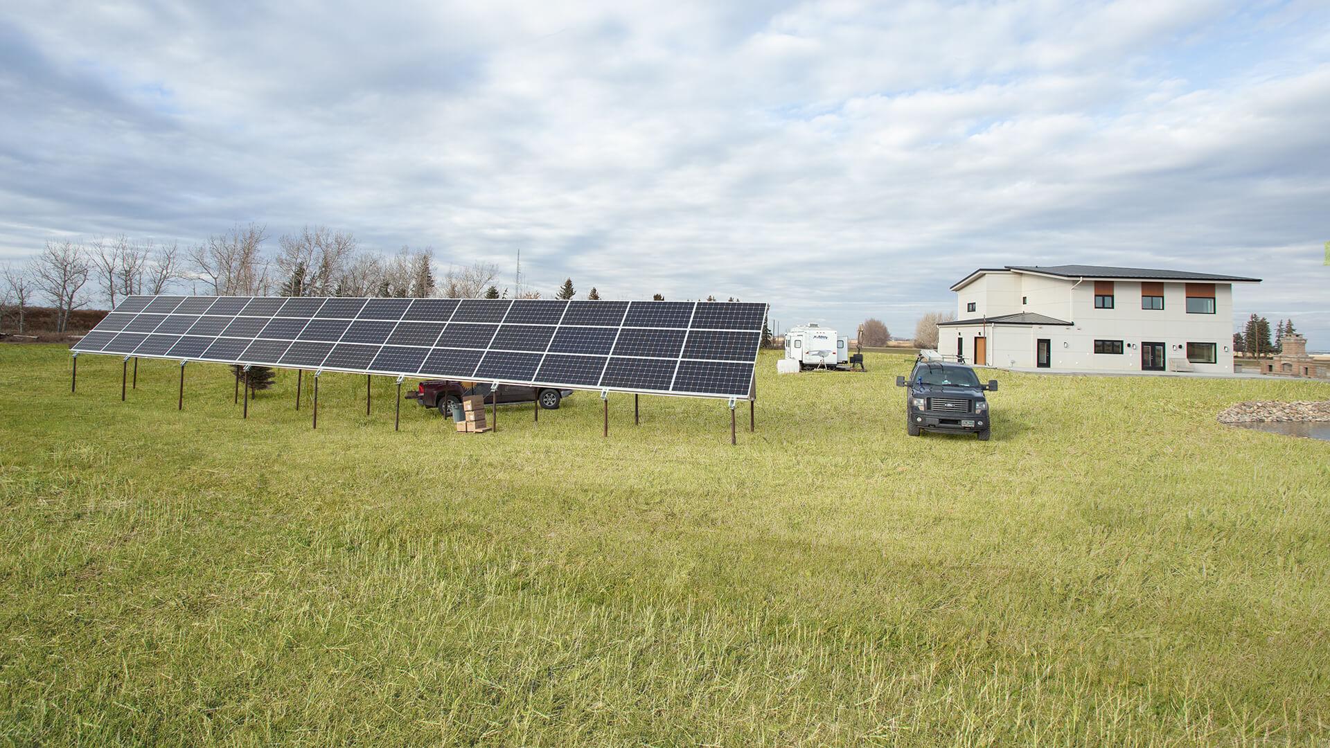 Solar Panels at Custom Net Zero Plus Home in Lethbridge